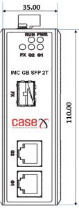 IMC-GB-SFP-2T Dual 10/100/1000T Media converter Dimensions Front View
